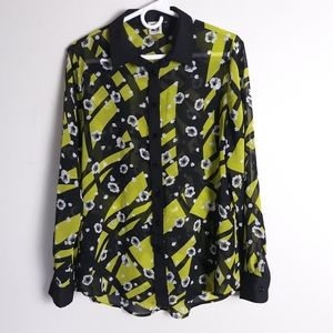 Anne Klein sheer button front floral blouse